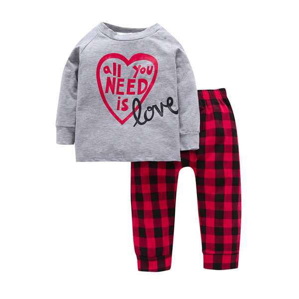 2Pcs 12M~5T 2017 Casual Toddler Boys Sets Grey Letter Long Sleeve Cotton T-shirt+Red Plaid Pants Autumn Baby Girls Clothes Sets - Next New Fashion