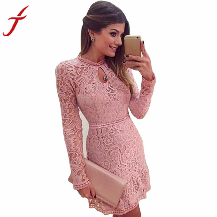 Fashion Women Sexy Pink Hollow Out Lace Long Sleeve Slim Dress clubwear Party MIni Dress - Next New Fashion