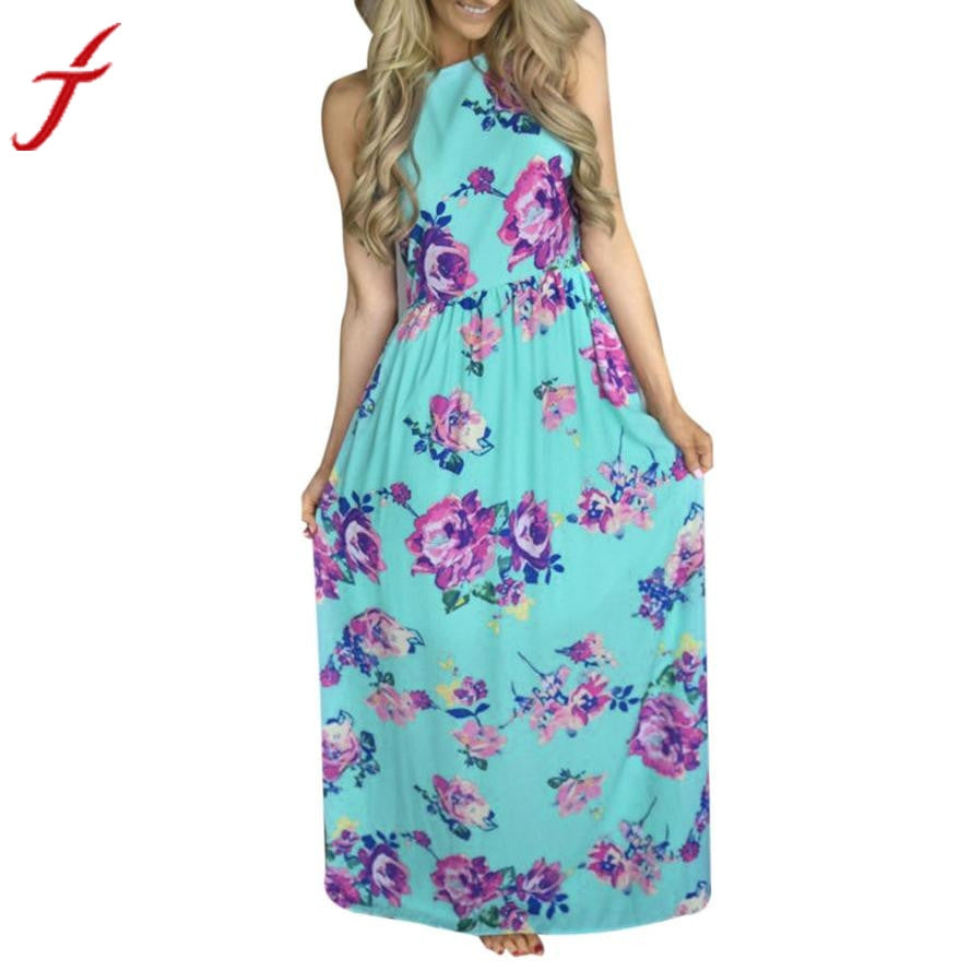 Womens Summer Maxi Dresses Long Maxi Strappy Dress Beach Boho Dress Sleeveless Green Halter Neck Floral Print Vintage Dress - Next New Fashion
