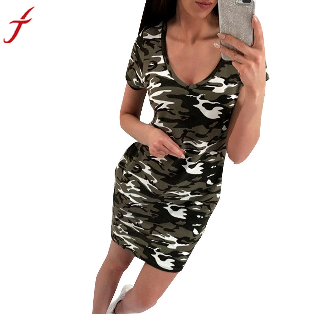 Camouflage Summer Dress NextNewFashion's New Arrival Womens V-Neck Ladies Casual Short Sleeve Mini Dress Straight vestido de festa - Next New Fashion