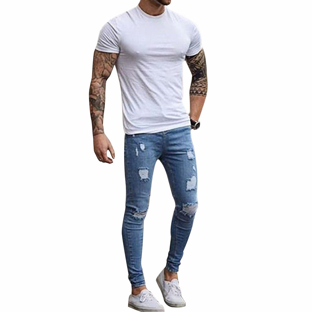 Fashion Destroyed Torn Pants Men's Pant Zipper Skinny Jeans (Blue) - Next New Fashion