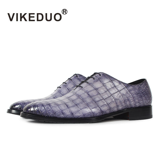 Vikeduo Handmade brand Designer party Wedding Alligator Skin Crocodile shoe Luxury male dress Genuine Leather Mens Oxford Shoes - Next New Fashion