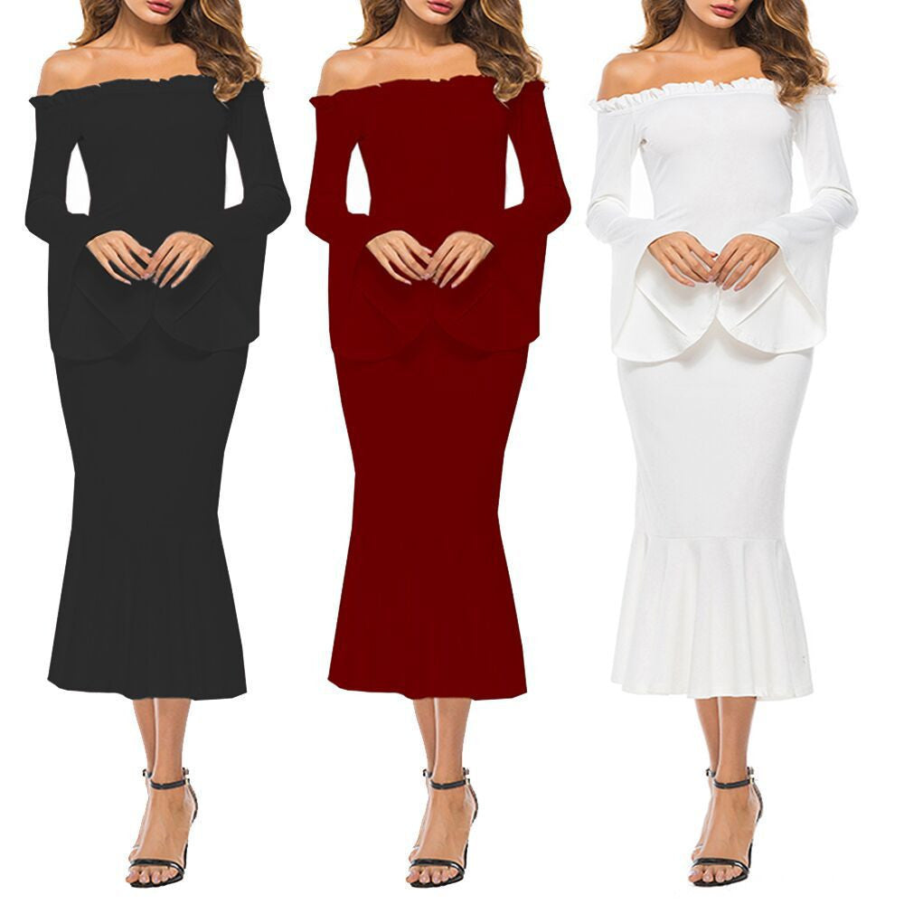 Sexy Women Dress Long Sleeve Off The Shoulder Dress Party Evening Dress - Next New Fashion