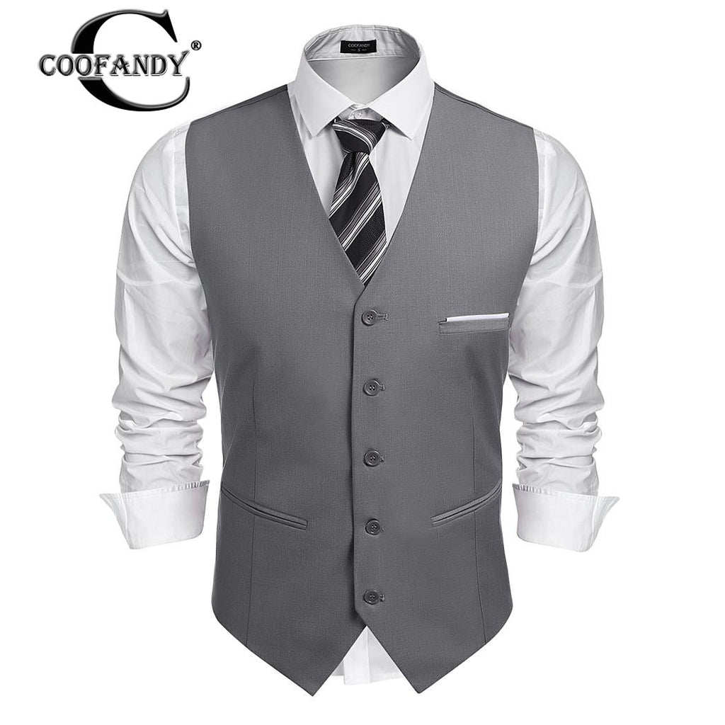 COOFANDY NextNewFashion's Autumn Men Jacket Lapel Sleeveless Vest Patchwork  Slim Fit Business Suit Vest Male Jacket Free Shipping - Next New Fashion