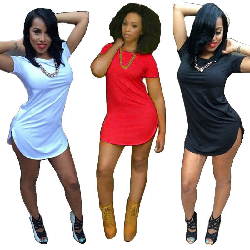 Sexy Women Tops Short Sleeve Side Slit Casual T Shirt Party Mini Dress - Next New Fashion