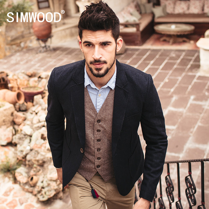 SIMWOOD Brand 2018 New spring  Winter  Casual Blazers Men  Length Slim Fit Suit Jacket  Fashion Coats  XZ6104 - Next New Fashion