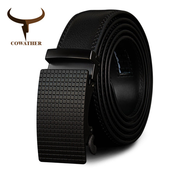 COWATHER Cow Genuine Leather Belts High Quality for Men Automatic Vintage Male Belt Brand Ratchet Buckle Belts 110-130cm long - Next New Fashion