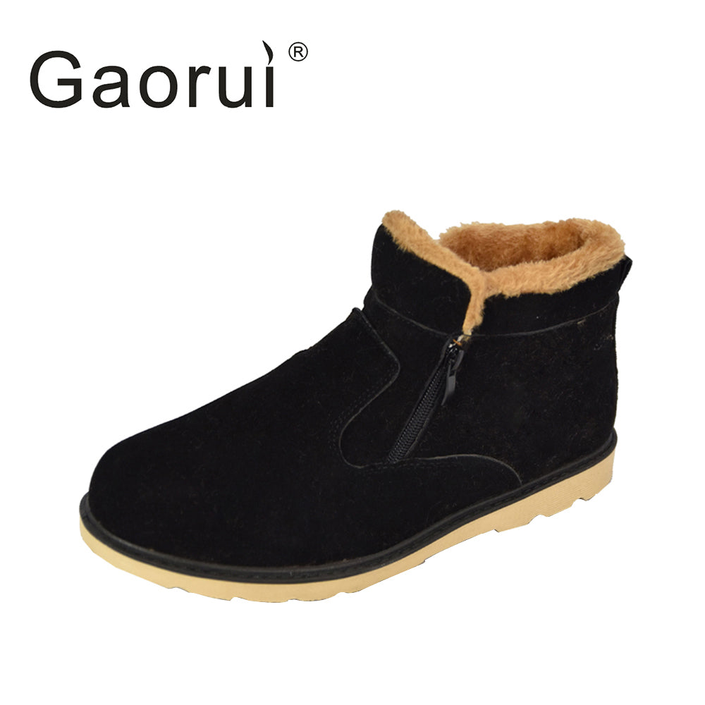 New Winter Men Warm Snow Boots PU Leather Thick Plush Men ankle Boots Male Casual Zip Shoes High Quality Plus Size - Next New Fashion