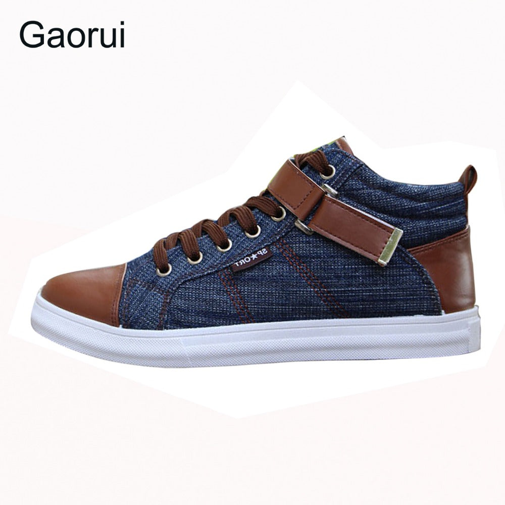 2017 spring autumn men's leisure fashion Board high shoes breathable canvas England style buckel patchwork mix-color flats - Next New Fashion