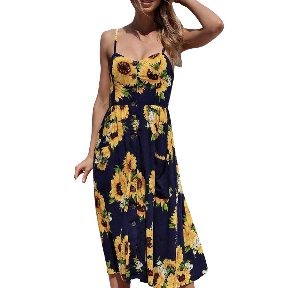 Women Sexy Printing Buttons Off Shoulder Sleeveless Dress Princess Dress - Next New Fashion