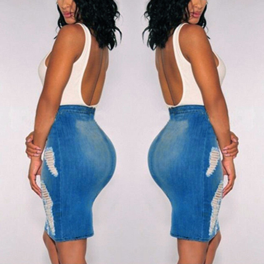 Women Stretch Bodycon Pencil High Waisted Hole Denim Jeans Short Mini Skirt - Next New Fashion