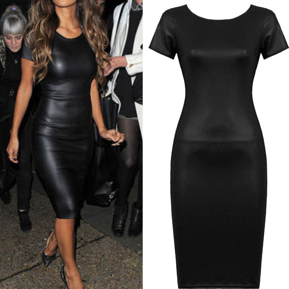 Women Short Sleeve Wet Look Faux Leather Bodycon Midi Sheath Sexy Skinny Dress - Next New Fashion