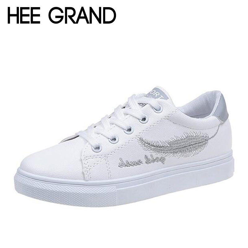 HEE GRAND PU Leather Women Casual Shoes Lace-up Flats Comfortable Women Shoes XWD6437 - Next New Fashion