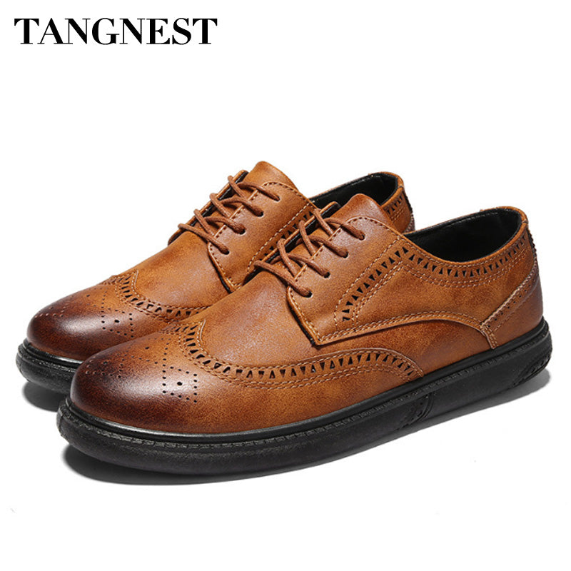 Tangnest 2018 New Men Brogue Shoes Lace Up Retro Leather Men Casual Shoes Breathable Flats Comfortable Men Shoes - Next New Fashion