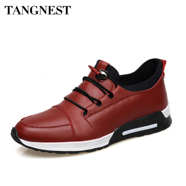 Tangnest 2018 Men PU Leather Casual Shoes Solid Slip-on Height Increased Flats For Male Leisure Footwear Man Loafers XMR2421 - Next New Fashion