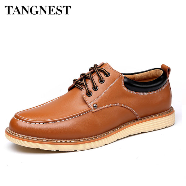 Tangnest Brand Men Business Shoes 2017 Casual PU Leather Oxfords Shoes For Man Round Toe Lace Up Flats Men Dress Shoes XMP741 - Next New Fashion