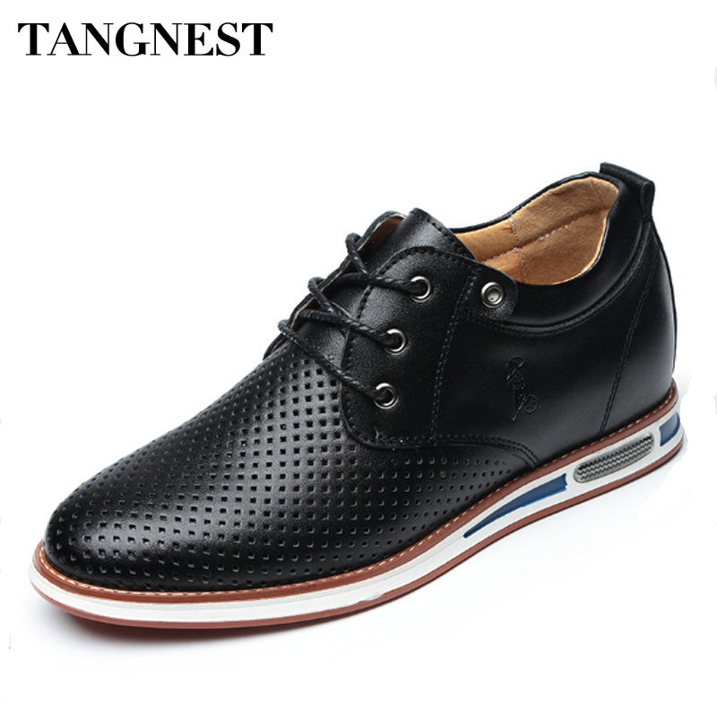 Tangnest Men Leisure Dress Shoes Spring Cow Split Leather Breathable Men Elavator Shoes 6 CM Height Increasing Shoes XMR2789 - Next New Fashion