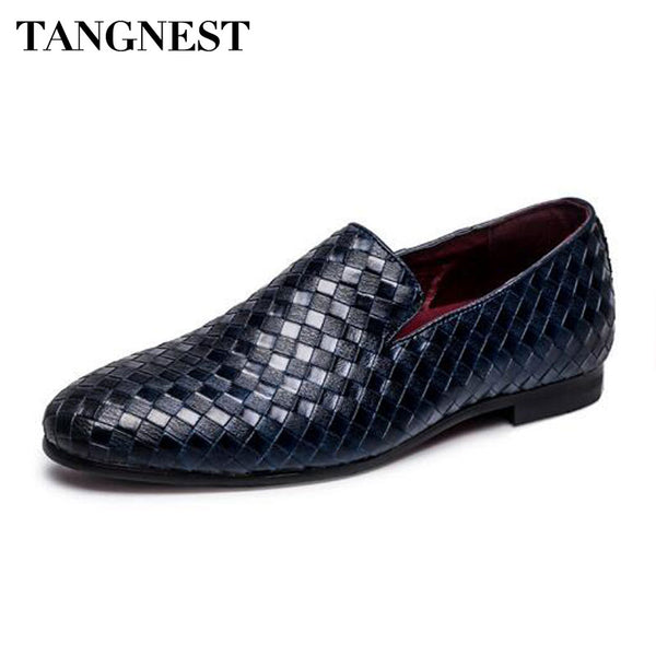 Tangnest Luxury Brand 2018 Men Shoes Fashion Braid Leather Slip-on Flats Casual Driving Oxfords Shoes Men Moccasins Size 37 ~47 - Next New Fashion