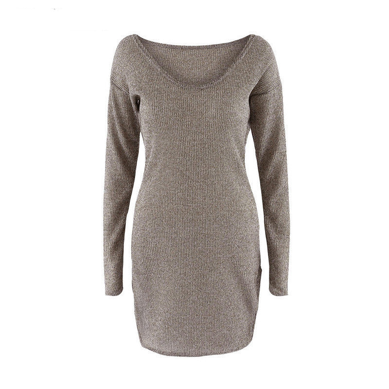 2018 Winter Women Sweater Dress Elegant Chic Long Sleeve Knit Deep V-neck Sexy Party Bodycon Sweater Dresses - Next New Fashion