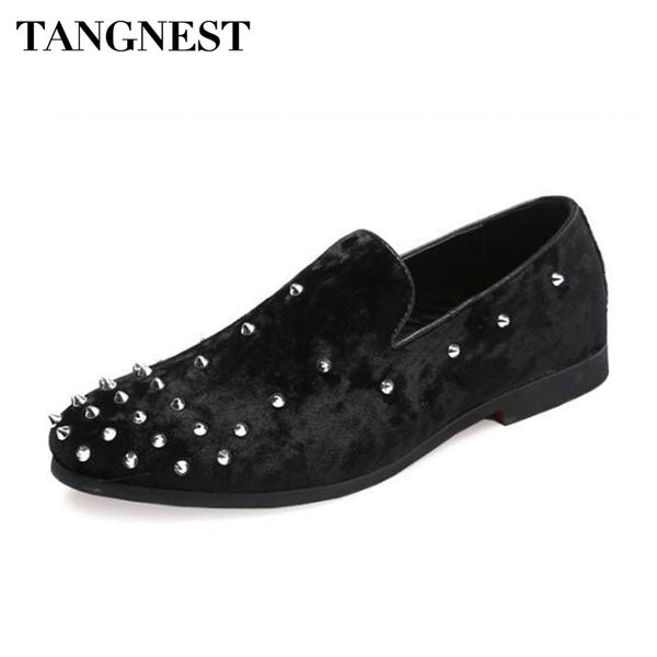 Tangnest New 2018 Luxury Men Loafers Fashion Rivets Faux Suede Leather Driving Shoes For Men Shallow Slip-on Flats Size 47 - Next New Fashion