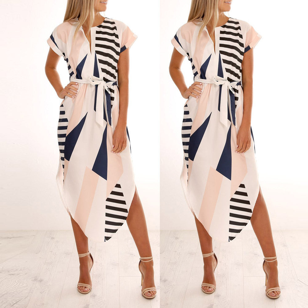 Women Casual Short Sleeve V Neck Printed Maxi Dress With Belt - Next New Fashion