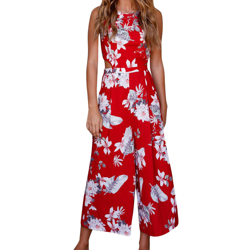 Women Sleeveless Floral Print Jumpsuit Casual Clubwear Wide Leg Pants - Next New Fashion