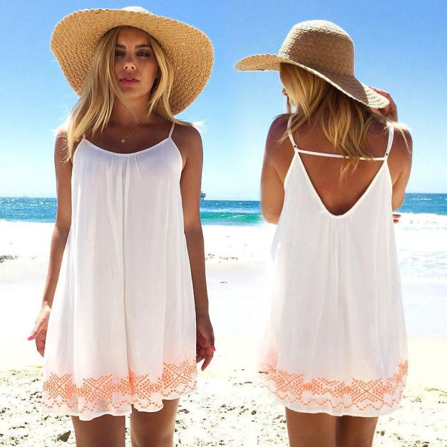 Women Backless Short Summer BOHO Evening Party Beach Mini Dress Sundress - Next New Fashion