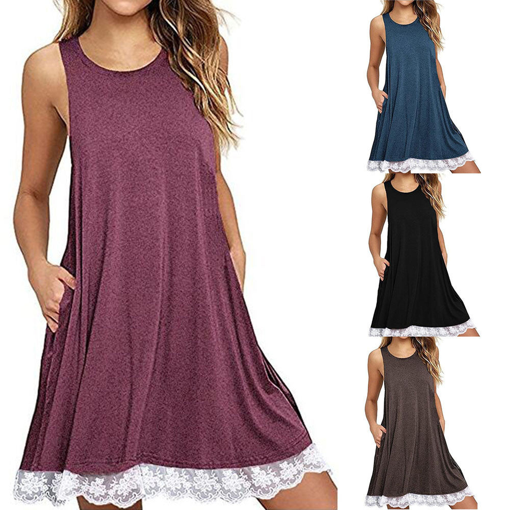Women O Neck Casual Lace Sleeveless Above Knee Dress Loose Party Dress - Next New Fashion