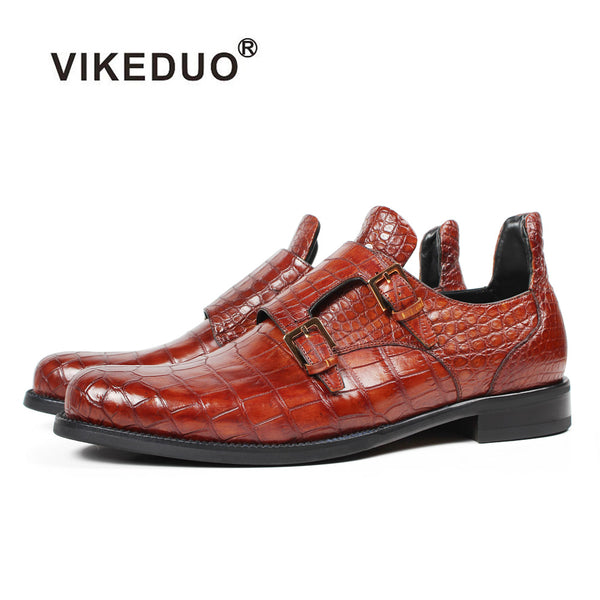 fe8e4017bb783 Vikeduo 2018 Handmade Designer Fashion Luxury Wedding Brand Male Shoe  Genuine Leather Mens Formal Crocodile Lether Dress Shoes