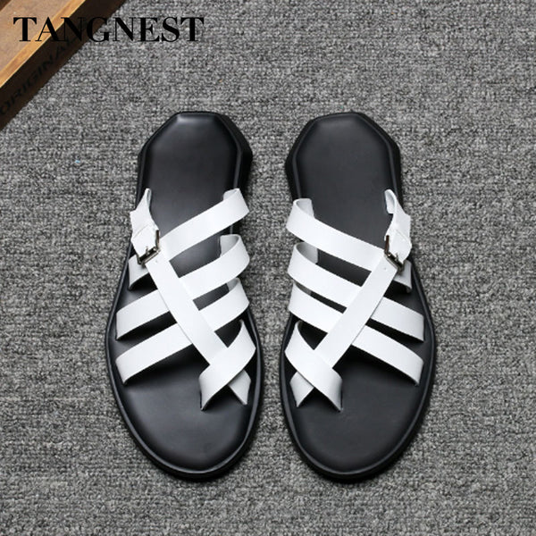 Tangnest Summer New Men Casual Sandals Slip On Men's Gladiators Leisure Outdoor Slides Fashion Beach Sandals Black White XML239 - Next New Fashion