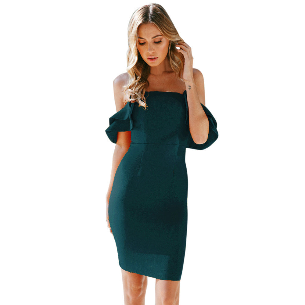 Women's Off The Shoulder Short Sleeve Bodycon Evening Party Short Mini Dress - Next New Fashion
