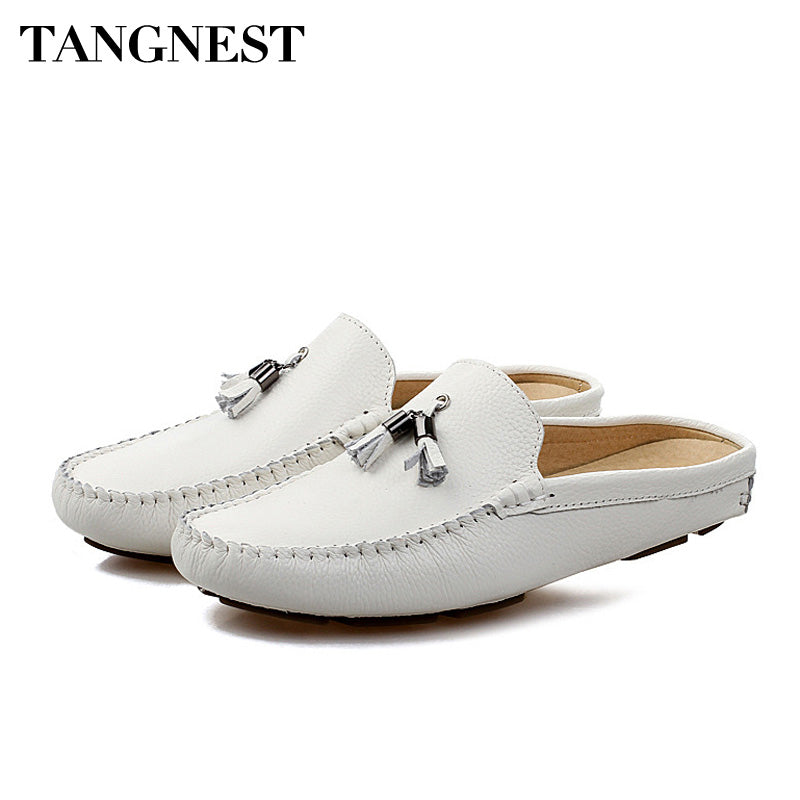 Tangnest Summer Men Genuine Leather Loafers Breathable Flat Shoes Lazy Men Fringe Slippers Outdoor Comfort Casual Shoes XMR2840 - Next New Fashion