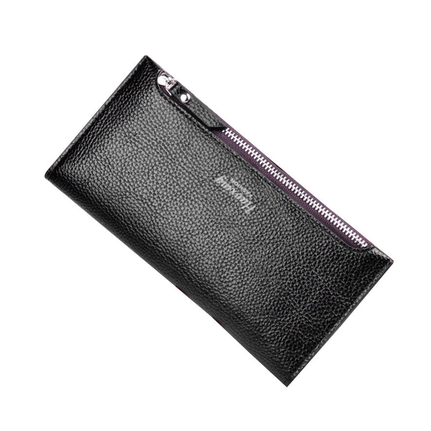 Ms. 2 fold thin fashion long solid color wallet - Next New Fashion