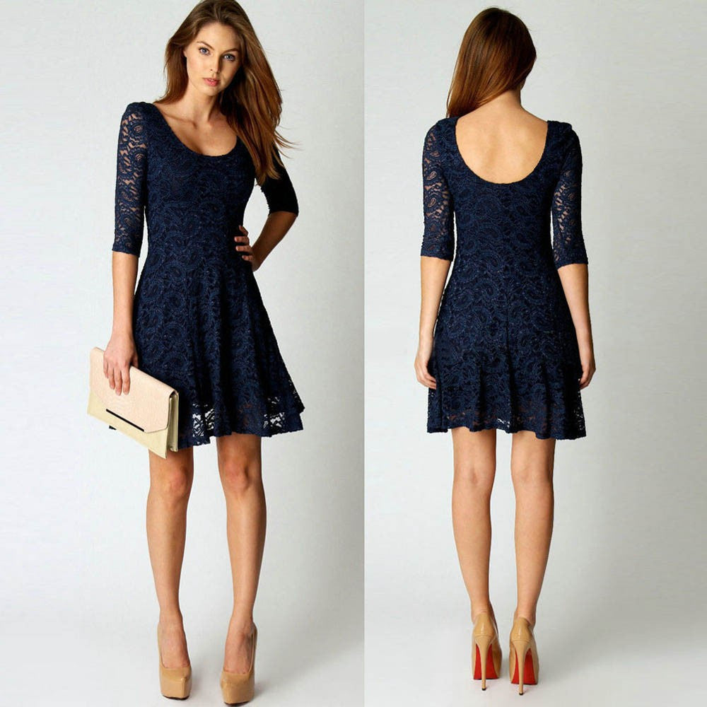 Fashion Women Lace Half Sleeve Party Evening Short Mini Dress S/M/L/XL - Next New Fashion