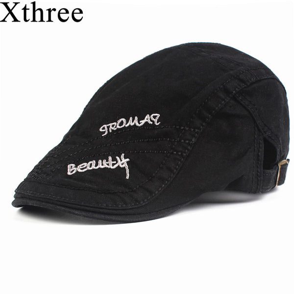 Xthree Fashion Embroidery for Men newsboy Cap Cotton Berets casquette HatsVisors Sun hat Gorras Planas Adjustable Caps - Next New Fashion