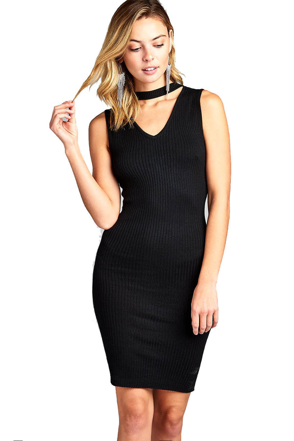 Women's Sleeveless V-Neck Choker Sweater Dress - Next New Fashion