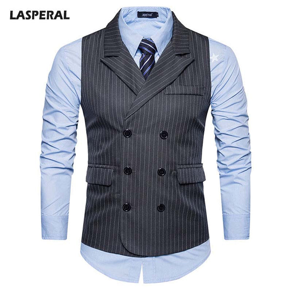 LASPERAL 2018 Autumn Doouble Breasted Wedding Suit Vest Men Striped Sleeveless Business Vests Male Slim Fit Dress Waistcoat - Next New Fashion