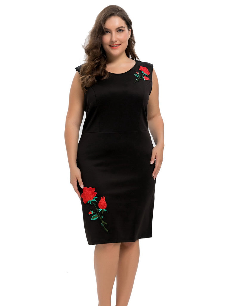 Chicwe Women's Stretch Scuba Plus Size Sheath Dress with Rose Embroidery 1X-4X - Next New Fashion