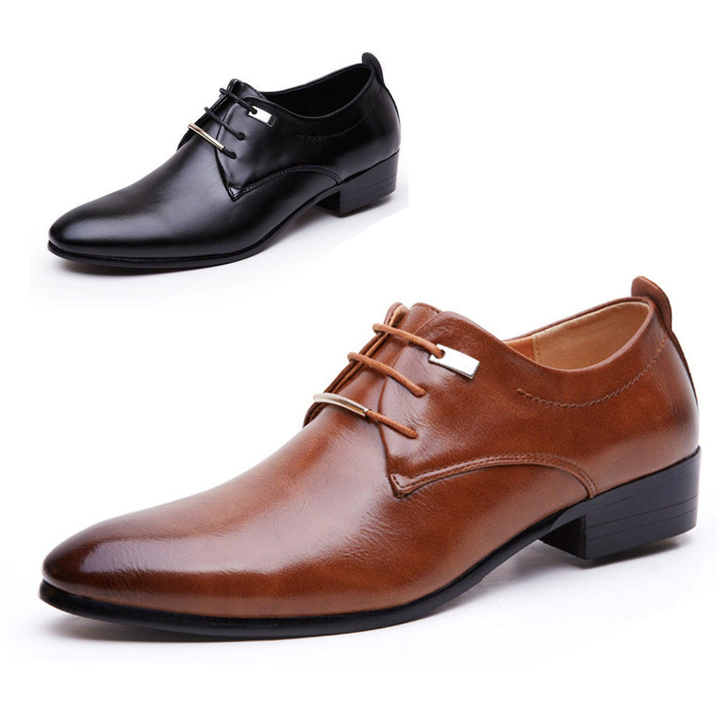 GAORUI New summer Italian Fashion Business Shoes Leisure Shoes formal mens PU leather pointed Lace-up shoes two colours - Next New Fashion