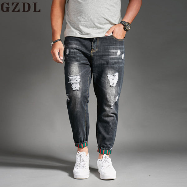 2018 New Men's Fashion Summer Thin Section Holes Jeans Stretch Korean Trend Slim Jeans Men's Casual Harlan Pants CL4656. - Next New Fashion