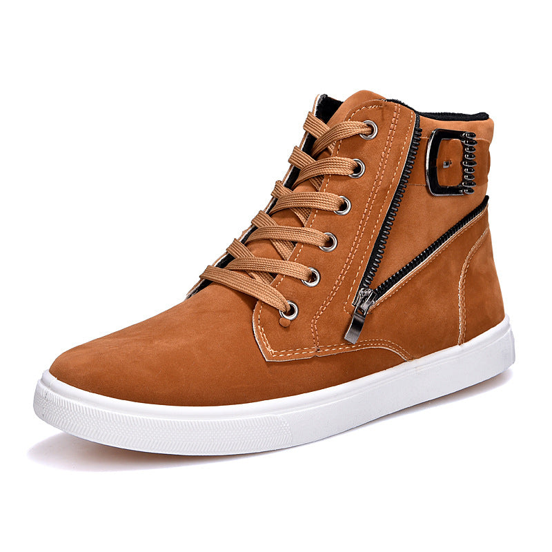 Fashion Spring New Men Casual High Top Shoes Round Toe Zip Cross Lace Up Metal Decoration Buckle Male Ankle Shoes - Next New Fashion