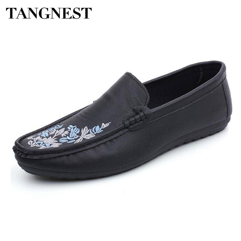 Tangnest NEW 2018 Printed Men Loafers Casual Round Toe Comfortable Driving Shoes For Male Summer Pu Leather Flats Moccasins - Next New Fashion