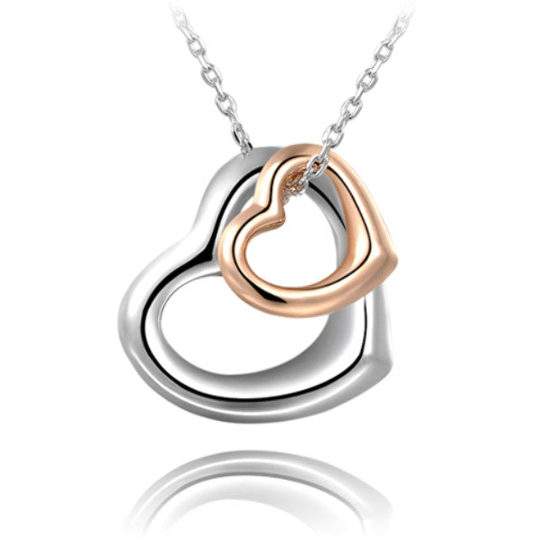 Double Heart Gold-Silver Overlay Pendant - Next New Fashion