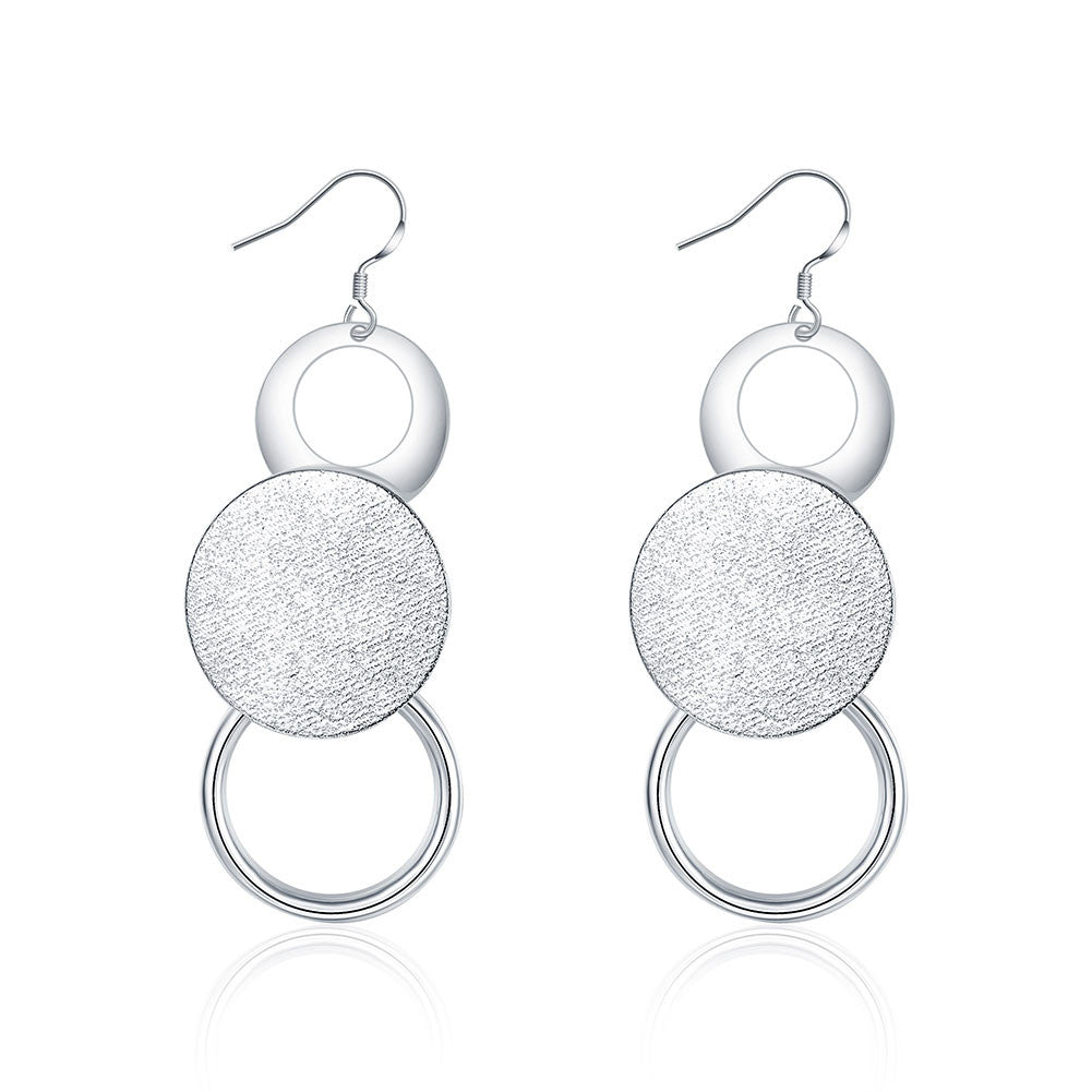 18K White Gold Plated Trio-Circular Drop Earring - Next New Fashion