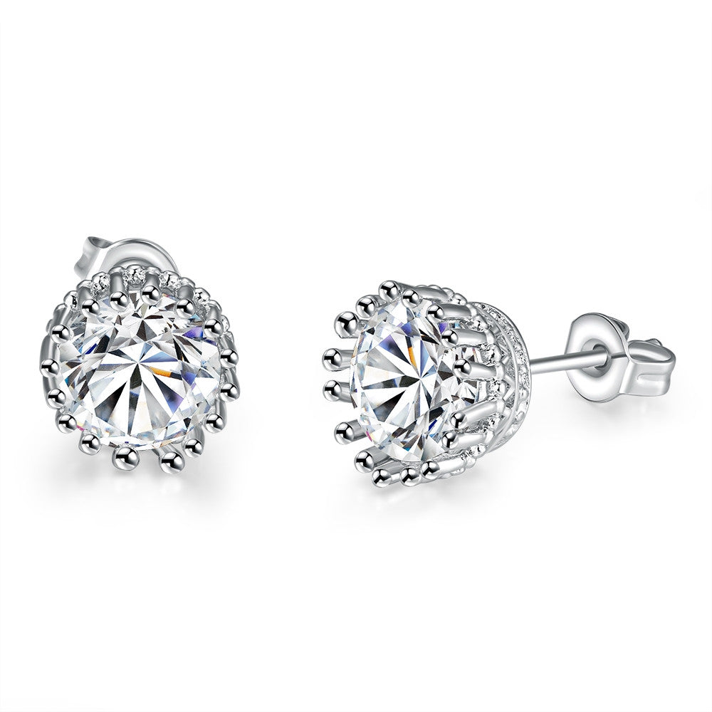 18K White Gold Plated Classic Studs - Next New Fashion