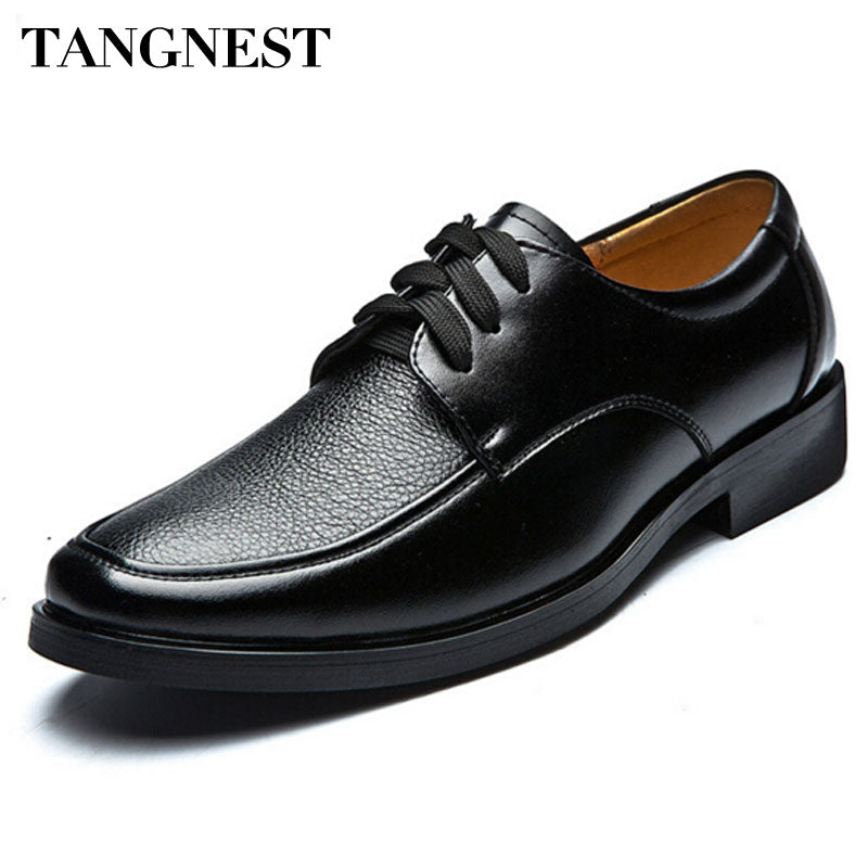 Tangnest Hot Sale Men's Business Shoes Male British Style PU Leather Dress Shoes Casual Lace Up Oxfords Flats Man XMP049 - Next New Fashion
