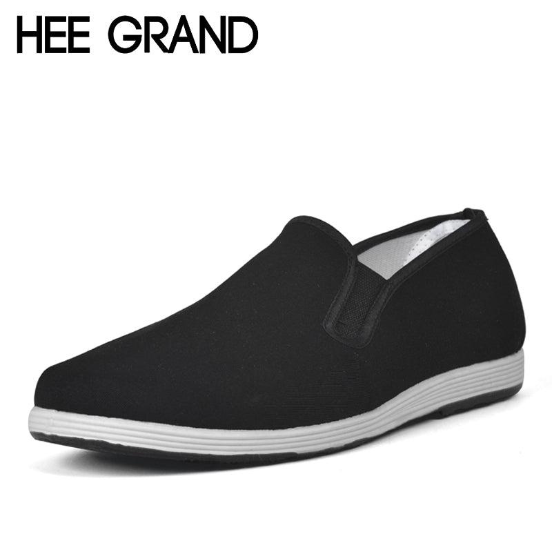 HEE GRAND Casual Men Loafers Spring Fall Round Toe Canvas Shoes For Man Slip On Black Flats Comfortable Father Men Shoes XMF403 - Next New Fashion
