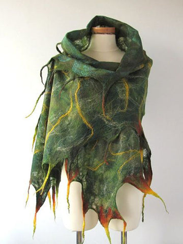 Green Vintage Scarves & Shawls-Accessories-Wotoba-Green-One-size-Wotoba