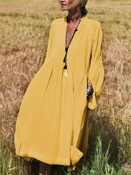 Solid Long Sleeves V-Neck Elegant Vacation Dresses-dress-Wotoba-Yellow-S-Wotoba