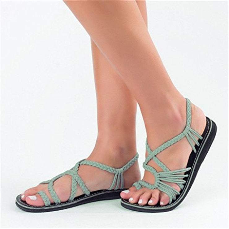 Wotoba Accessories Casual Flat Heel Braided Strap Open Toe